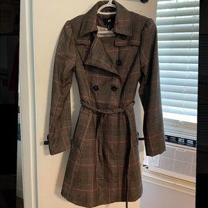 Brown and pink plaid jacket, Size 8 from H&M